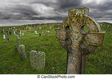 Old Celtic gravesite with unmarked gravestones from the...