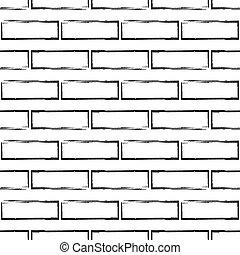 Stylized brick wall pattern, bw - Stylized brick wall vector...