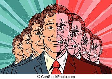 Crowd bad good people. Vintage comics cartoons illustration...