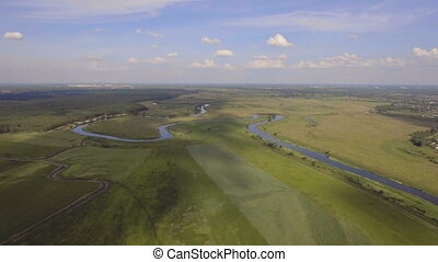 Landscape of the field, river. Aerial View.
