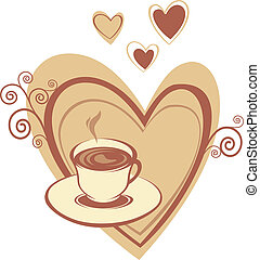 Coffee cup with heart - Cup of coffee on the heart...