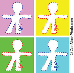 Human figure in different colours, to cut out, with...