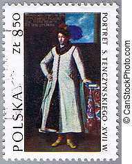 Portrait of the Polish nobleman - POLAND - CIRCA 1973: A...