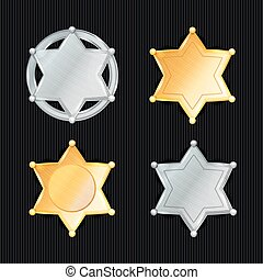 Sheriff Badge Star Vector Set. Different Types. Classic...