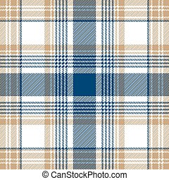 Blue beige white checkered plaid seamless pattern