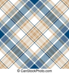 Blue gold tartan diagonal seamless pattern