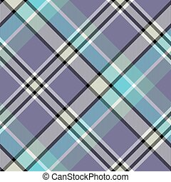 Blue gray color check plaid seamless fabric texture. Vector...