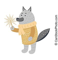 Grey Wolf in Warm Yellow Sweater with Sparkler - Grey wolf...