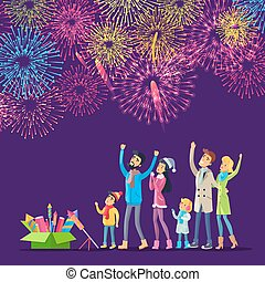 Fireworks. Adults and Children Watching Salutes - Adults and...
