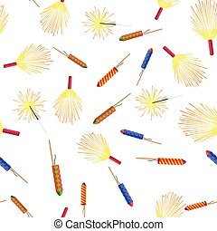 Seamless Pattern with Rockets Sparklers Fireworks - Seamless...