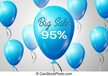 Blue Balloons with an inscription Big Sale ninety five percent Discounts. SALE concept for shops store market, web and other commerce. Vector illustration.