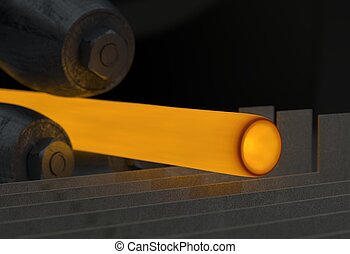 Hot rolling machine Industry steel background. 3d illustration