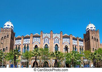 Monumental Bullring of Barcelona - View from the street to...