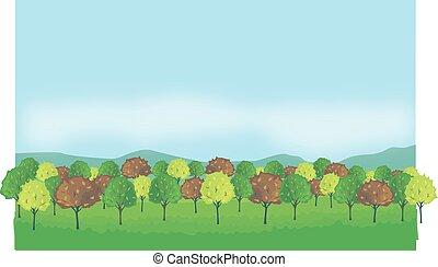 october - autumn trees, autumn forest, mountain, blue sky