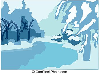 rink - Snowy landscape. Rink, trees in snow, snowdrifts.