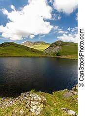 Llyn y Dywarchen Reservoir and mountains beyond, Snowdonia....