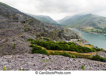 Llanberis, Nant Peris Pass and Dinorwig Slate Quarry - View...