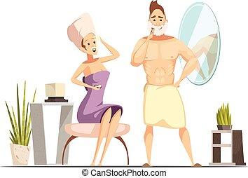 Hair Removal Depilation Family Cartoon Illustration -...