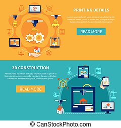 Printing Details And 3d Construction Horizontal Banners -...