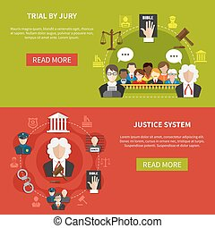 Law Banner Set - Two horizontal flat law banner set with...
