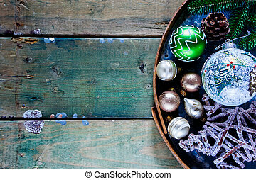 Christmas holiday decoration - Rustic wooden background with...