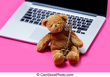 beautiful cute teddy bear with golden key and cool laptop on...