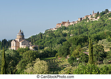 Montepulciano, hilltop town with cathedral in Tuscany