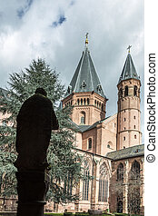 Mainzer Dom cathedral in Mainz in Germany under cloudy sky