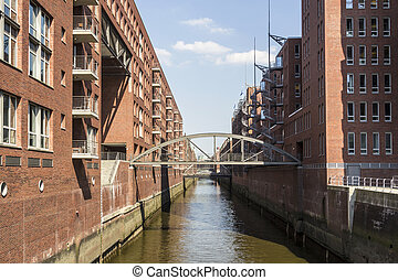 red brick houses at the Speicherstadt Hamburg - Brick-lined...