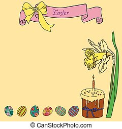 Vector greeting card Happy Easter with narcissus and eggs
