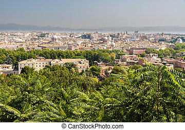 View over Rome - View of Rome from Janiculum hill, Italy.
