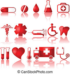 Medical icons - Glossy set of different medical related...