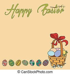 Vector greeting card Happy Easter with basket and eggs