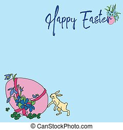 Vector greeting card Happy Easter with rabbit and egg