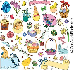 Vector set of Easter symbols - Easter vector set of symbols...