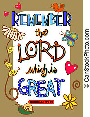 Bible Scripture Art Poster - Remember the Lord which is...