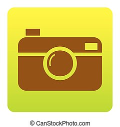 Digital photo camera sign. Vector. Brown icon at...