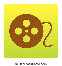 Film circular sign. Vector. Brown icon at green-yellow gradient square with rounded corners on white background. Isolated.