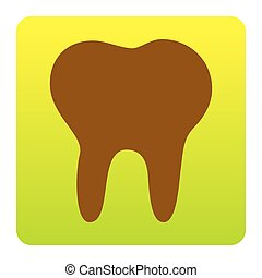 Tooth sign illustration. Vector. Brown icon at green-yellow gradient square with rounded corners on white background. Isolated.