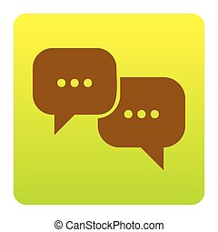 Speech bubbles sign. Vector. Brown icon at green-yellow...