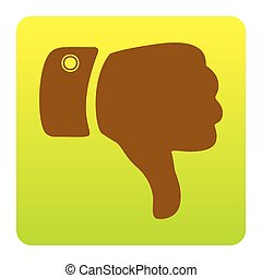 Hand sign illustration. Vector. Brown icon at green-yellow gradient square with rounded corners on white background. Isolated.
