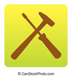 Tools sign illustration. Vector. Brown icon at green-yellow...
