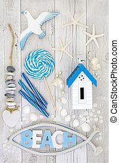 Beach Art Abstract Collage - Beach art abstract design with...