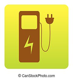 Electric car charging station sign. Vector. Brown icon at...