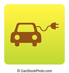 Eco electric car sign. Vector. Brown icon at green-yellow...
