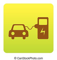 Electric car battery charging sign. Vector. Brown icon at...