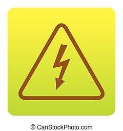 High voltage danger sign. Vector. Brown icon at green-yellow...