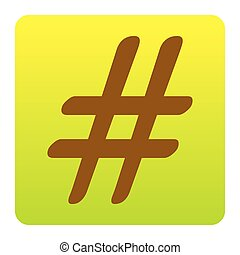Hashtag sign illustration. Vector. Brown icon at...