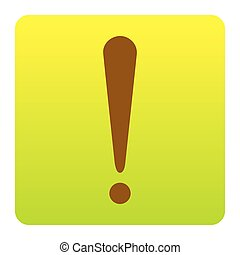 Attention sign illustration. Vector. Brown icon at...