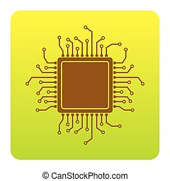 CPU Microprocessor illustration. Vector. Brown icon at green-yellow gradient square with rounded corners on white background. Isolated.
